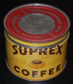 VINTAGE RARE SUPREX VACUUM PACKED  COFFEE CAN TIN KEY WIND COLLECTIBLE GRAPHICS