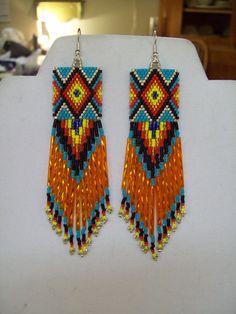 Love square shape!Native American Beaded Diamond Rug Earrings Turquoise Red, Orange, Yellow, Black, Silver, Blue