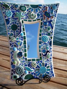 Beach Life Key West Mosaic Art Mirror Handmade One a kind sea turtle Mirror Mosaic, Mosaic Glass, Glass Art, Stained Glass, Mosaic Artwork, Mosaic Wall, Sea Glass, Mosaic Crafts, Mosaic Projects