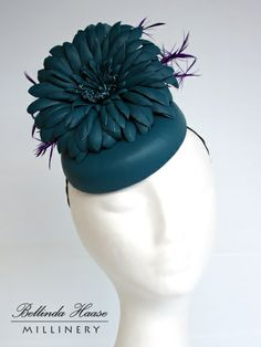 Turquoise Leather Cocktail Button by BELLINDA HAASE #millinery #hats #HatAcademy Millinery Hats, Fascinator Hats, Fascinators, Headpieces, Diana, Cocktail Hat, Fancy Hats, Leather Hats, Love Hat