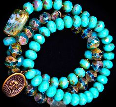 Three strands of unique turquoise stretch by Love2BeadbyCindy