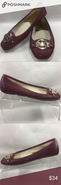 Micheal Kors Magenta Leather Slip On Ballet Flats Very Good Condition Some Normal Wear Including Scuffing & Sole Wear See Pictures. Micheal Kors Magenta Leather W/ Gold Medallion Slip On Ballet Flats Size 7 M Shoe #244 MICHAEL Michael Kors Shoes Flats & Loafers