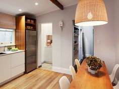 kitchen dining white wood joinery storage 65 Rofe Street, Leichhardt