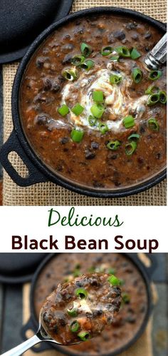 Bean Soup This healthy Black Bean Soup Recipe gets big flavor from bacon, onions, and garlic! Make it spicy or mild.This healthy Black Bean Soup Recipe gets big flavor from bacon, onions, and garlic! Make it spicy or mild. Crock Pot Recipes, Bean Soup Recipes, Cooking Recipes, Spicy Bean Soup, Bean And Bacon Soup, Beans Recipes, Chili Recipes, Easy Cooking, Healthy Recipes