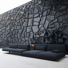francesco rota / divano move da paola lenti (arte: alberto burri, grande cretto nero)