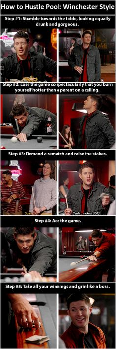 How to hustle pool like a Winchester [gifset] - 10x17 Inside Man