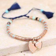 Personalised Double Heart Rose Gold Tassel Bracelet