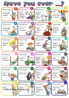 Have you ever ...? Practice sheet for present perfect tense