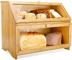online shopping for Double Layer Bread Box Kitchen Large Bamboo Capacity Food Storage from top store. See new offer for Double Layer Bread Box Kitchen Large Bamboo Capacity Food Storage Bread Storage, Storage Boxes, Food Storage, Storage Containers, Bread Bin, Bread Boxes, Wooden Bread Box, Bread Food, Bread Holder