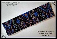 BP-PEY-143-2017-042 - Fashion Pyramids - Peyote PATTERN, beadweaving pattern, Peyote Bracelet Pattern, beaded bracelet, bracelet pattern, by TrinityDJ on Etsy https://www.etsy.com/listing/522892669/bp-pey-143-2017-042-fashion-pyramids