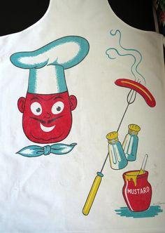 Vintage Bib Apron-Larger than Life Grill Chef Bright Colors-Cute Depiction Retro Bar-B-Q Attire-Grilling-Smoking-Orphaned Treasure