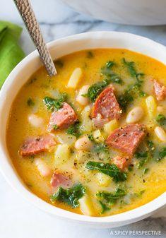 A Spicy Perspective Portuguese Caldo Verde Soup (Video) - A Spicy Perspective Portuguese Kale Soup, Portuguese Recipes, Portuguese Sausage, Caldo Verde Recipe, Recipe For Caldo, Soup Recipes, Cooking Recipes, Yummy Recipes, Recipies
