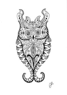 Pen & Ink drawing of an owl by SomeCatchyName on Etsy