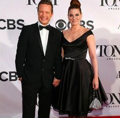 Debra Messing in Matthew Christopher tea length red carpet dress with Will Chase at the 2013 Tony Awards. Debra made the top 10 best dressed! / #RedCarpet #DebraMessing #Fashion #Couture #MatthewChristopher
