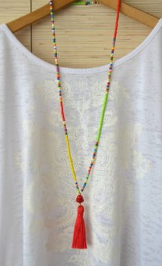 Long Tassel Necklace Red Beaded Necklace With Tassel Hippie Necklace Seed Bead Tribal Necklace Bohemian Buddha Necklace Gypsy Necklace Long collier pompon Collier de perles rouges avec hippie gland Dyi Necklace, Tribal Necklace, Seed Bead Necklace, Necklace Ideas, Necklace Tutorial, Bohemian Necklace, Seed Beads, Pearl Necklace, Boho Jewelry