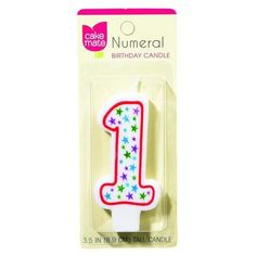 Cake Mate Birthday Party Candle - Numeral - 1 - 3 In - 1 Count - Case Of 6