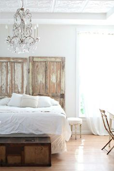 old doors as a headboard, dreamy whites, white bedroom, shabby chic Serene Bedroom, Beautiful Bedrooms, Dream Bedroom, Home Bedroom, Bedroom Decor, Bedroom Inspo, Headboard From Old Door, Headboard With Lights, Headboard Door
