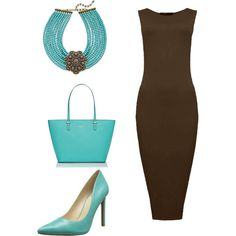 Chocolate and Turquoise Career Outfit by mailforjoy on Polyvore featuring polyvore, fashion, style, Nine West, Kate Spade and Heidi Daus