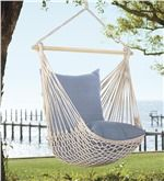 The cotton/polyester string body of our Rope Hammock Swing with Pillows looks delicate, but it's strong enough to hold up to 350 lbs.Rope Hammock Swing W/Bracing Rod & 2 Pillows, In Midnight Filigree - Plow & Hearth, BlueRope Hammock Swing with Cushi Rope Hammock, Hammock Swing Chair, Swinging Chair, Hammocks, Rope Swing, Backyard Hammock, Diy Hammock, Hammock Ideas, Swing Seat