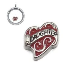 Pink Red Silver tone Daughter words Floating charms Zinc Alloy Fit Floating lockets & Floating