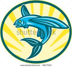 Illustration of a flying fish jumping set inside ellipse done in retro woodcut style. - stock vector #flyingfish #woodcut #illustration