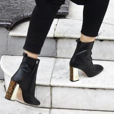df0c3e8aae4e Office Aries Square Toe Boots Black Leather Leopard Gold Mix Heel - Ankle  Boots