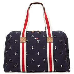 Tommy Hilfiger Anchor Critter Weekend Tote ($50) ❤ liked on Polyvore featuring bags, handbags, tote bags, purses, tommy hilfiger handbags, canvas tote, purse tote, tote handbags and anchor tote