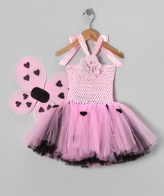 Take a look at this Pink & Black Love Bug Halter Dress & Wings - Infant & Toddler by Tutu Mania on #zulily today!
