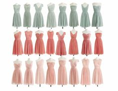 J. Crew Silk chiffon bridesmaid dresses in Dusty Shale, Bright Coral and Misty Rose