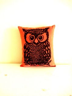 Screenprint Owl Pillow by cronopia6 on Etsy, $12.00