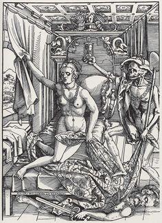 Stock Photo - 'Death and the Courtesan (Signed by the Wood-Engraver)', Artist: Sebald Beham Dance Of Death, Memento Mori, Art And Illustration, Renaissance, Danse Macabre, Canvas Art, Canvas Prints, Vanitas, Medieval Art