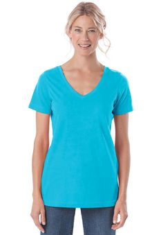 Top, tee with V-neck by Only Necessities® | Plus Size Short Sleeve | Woman Within