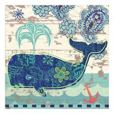 Oceania Whale Canvas Wall Art, Multicolor