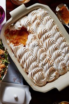 This Maple Meringue Sweet Potato Casserole is a holiday must-have. Roast and mash the sweet potatoes up to 2 days ahead and chill.