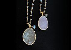Grey druzy stones with labradorite gems on a vermeil labradorite chain, choose length.