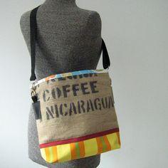 Recycled Burlap Coffee Bean Sack Bucket Bag, Handbag, Purse | pinned by http://www.cupkes.com/