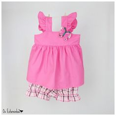 Baby girl Outfit  Pink Tunic plaid fuxico by OsEstorninhos on Etsy, €25.00