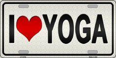 I Heart Yoga Sign Tag  Plate