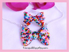 Candy Sprinkle Bow Necklace n Ring  Kawaii Hipster by tranquilityy