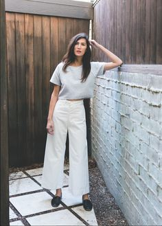 loose cropped t-shirt + white wide-legged high-waisted pants + black loafers