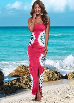 Take it to the beach in tie dye. Venus tie dye maxi dress.