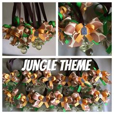 One dozen Pacifier Necklaces. Jungle themed necklaces. With a Charm. charm can be chosen form its a boy, its a girl, and a foot prints one.