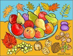 Nicole's Free Coloring Pages: Autumn fruits * Coloring page * Desene de colorat…