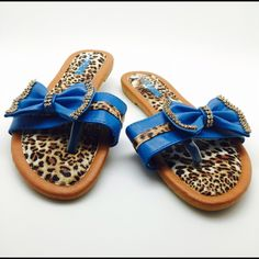 Sale Stunning Blue leopard flip flops All Sizes New with Tag Blue Leopard flip flops with stunning bling! Comfortable and beautiful. Available in sizes 6,7,8,9,10,11 Hbcali Shoes Sandals