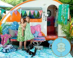 Not only is this adorable - but the fabric and colors are FABULOUS.  Where do you get a cute little trailer like this????
