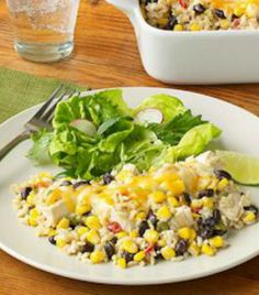 Creamy & comforting Southwest chicken & brown rice casserole. A healthy 30-minute meal! | via @SparkPeople #food #recipe #dinner