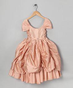 Another great find on #zulily! Peach Sequin Flower Pick-Up Dress - Toddler & Girls by Bijan Kids #zulilyfinds