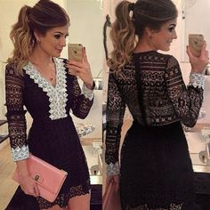 Women Full Lace Long Sleeve Evening Formal Cocktail Party Mini Dress