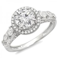 Share and get $20 off your order of $100 or more. IGI Certified 2.40 Carat (ctw) 18k White Gold Round & Pear Shape Diamond Ladies Halo Vintage Bridal Engagement Ring - Dazzling Rock #https://www.pinterest.com/dazzlingrock/