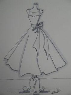 x Custom Wedding Dress Illustration croquis Dress Design Drawing, Dress Design Sketches, Fashion Design Sketchbook, Fashion Illustration Sketches, Fashion Design Drawings, Sketch Design, Fashion Sketches, Art Sketchbook, Dress Drawing Easy